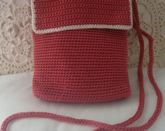 Vintage Rust Color Crocheted Sak Shoulder Bag with Two Zipper Pockets