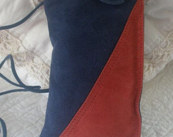 Handcrafted Leather Suede Navy and Red Glasses Document Travel or Jogging Cross Chest Purse