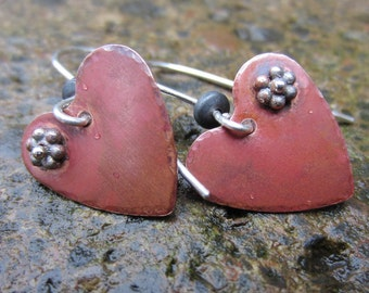 Rustic Floating SweetHeart Copper and Sterling Silver Earrings