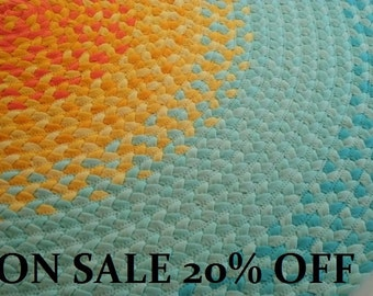 Recycled Hand Braided Round Area Rug --100% Cotton Floor Rug in Mint Green and Yellow – 8 Sizes Available