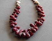 Rich Burgundy Ruby Drops with Gray Coin Pearls and Vermeil Necklace