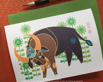 Ox Chinese New Year A-6 Card Set - Chinese Zodiac Animal