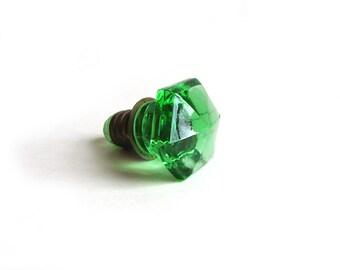Vintage Depression Green Glass Cabinet or Drawer Knob (Single Knob), E2004