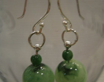 GREEN FRESH ... Natural Jade Silver Wire Wrapped Earrings