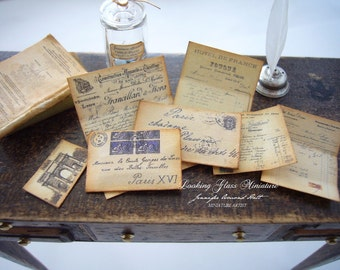 Miniature French Antique Letter Set Separate Pieces for Dollhouse 1/12 Scale