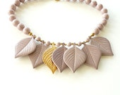 Vintage Lavender Bead Necklace with Ceramic and Gold Tone Leaf Charms