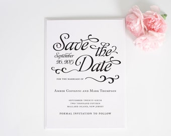 Shabby Chic Save the Date Card - Alluring Script Deposit