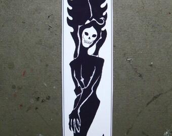 GRIM REAPER BOOKMARK, 8 Inch Long Angel of Death Art Print Book Mark, Cool Macabre Skull Face Angels, Artwork Bookmarks, Horror Reading