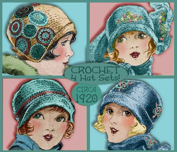 PDF Crochet 4 SWEET 1920s Vintage Cloche Hat and Scarf Sets CROCHET e-pattern Download