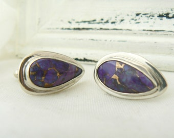 Sterling Silver and Artificial Eudialite Cufflinks - Men accessory jewelry 925 Cuff Links