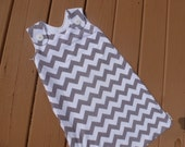 Maryjane Summer Sleep Sack 6-12m - White and Gray Chevron - You Pick Button Color