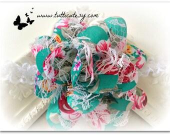 Turquoise Floral Flower Headband