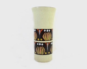 Vintage Vase West Germany Green Dümler Breiden Abstract Onion Pattern
