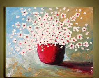 """white Flower painting Original abstract Oil contemporary  landscape palette knife floral impasto painting 16""""x20""""Ready to Hang by Qujun"""