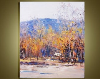 """Original oil painting Modern Palette Knife landscape Fine art on Canvas Home In Birch Forest  Ready to Hang by Qujun 20"""" by 24"""""""