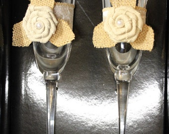 Wedding Toasting Glasses with Burlap Themed Deco