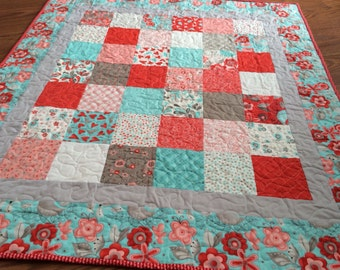 Pink and Aqua Baby Quilt -- Valentines Day -- Flirt by Sandy Gervais -- heart, red, grey