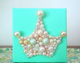 Mint Green Princess Nursery Art - Pearl Crown - Original Crown Art -  3d Small Canvas - Princess Crown Picture - Baby Shower Gift - Glitter