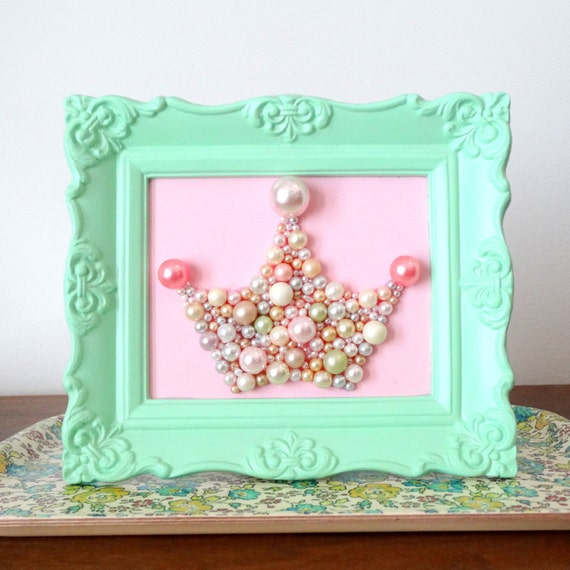 Shabby chic princess crown wall art.  Mosaic. Mint green ornate frame.  Vintage pearls.  Girls nursery.  Pink and green.  Paris apartment.