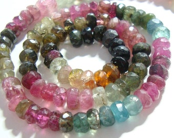 1/2 strand, 4.5-5 mm, Watermelon Tourmaline Faceted Rondelle, Organic HandCut, Gorgeous Sparkling Multi Color Tourmaline beads