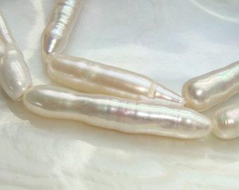 Fresh Water Pearl, Stick Biwa Freshwater Pearl, 30-35x7mm, 1/2 Strand - 25% sale