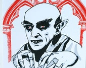 SALE - Halloween Letterpress card - Nosferatu - 60% off