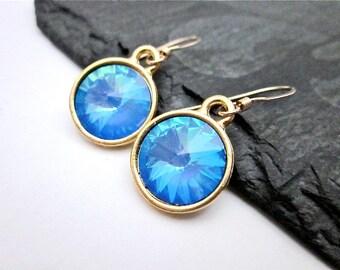 Ultra Blue Swarovski Crystal Earrings -- Gold & Light Blue Earrings -- Light Blue Crystal Earrings -- Pastel Blue Earrings