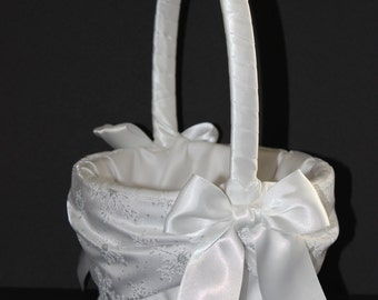 Snowflake Accent Winter Wedding Flower Girl Basket White or Ivory