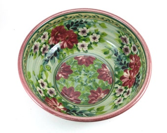 """Green ceramic bowl - 8"""" porcelain serving bowl with red flowers, floral pottery bowl"""