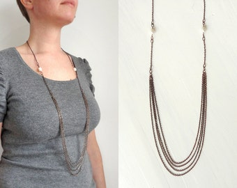 Long layered necklace copper chains necklace white freshwater pearls elegant