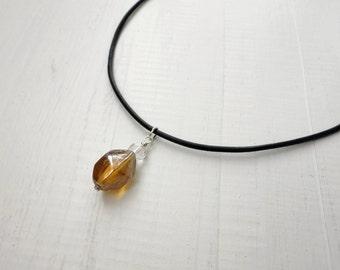 Yellow pendant leather necklace black cord honey yellow glass bead elegant rocker ooak