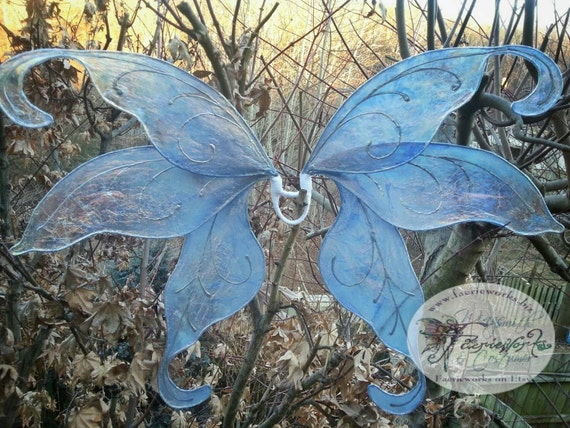 Snow Faery Butterfly Wings Snow Moth for Bridal by Faerieworks