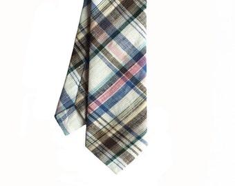 Levi - Pink/Blue/Brown Plaid Linen Men's Tie