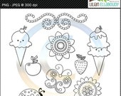 60%OFF Summer cuties digital stamps featuring spring and summer themed digital line art graphics