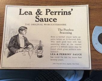 Lea & Perrins' Sauce The original worchestshire the peerless seasoning. Ad circa 1905.