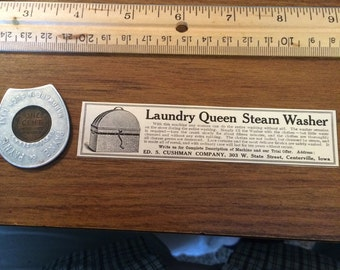 Laundry Queen Steam Washer ad circa 1905.