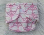 Baby Doll Diaper - Pink Whales - Size Small