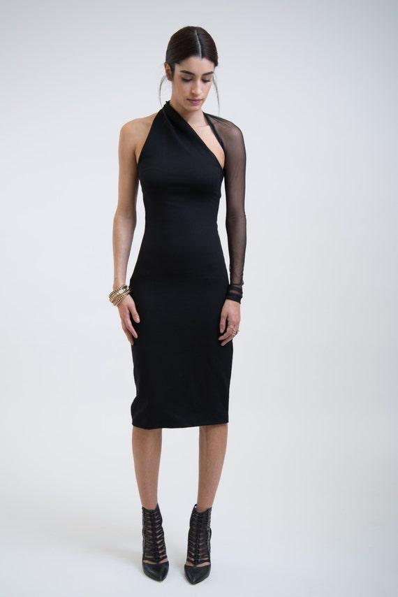 Black Dress / One Shoulder Dress / LBD / Little by marcellamoda