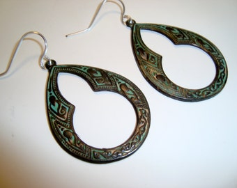 Green Verdigris Patina Earrings, Celtic Hoop Earrings, Sterling Silver Ear wires, Gypsy Bohemian, BOHO Design, Handmade, Spanish Earrings