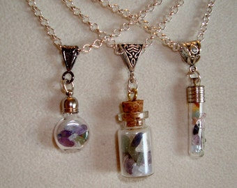 Chakra Gemstone Pendants In a Bottle - Choice of Bottle Style - Seven Gemstones -  Meditation, Love, Expression, Power