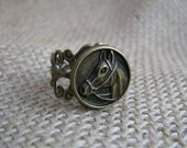 Brass Horse and Filigree Bullet Ring