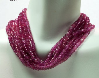 Pink Tourmaline Rondelles Rubellite Rondelles Faceted Rondels Semiprecious October Birthstone - 4.5-Inch or 9-Inch Strand - 3 to 4mm