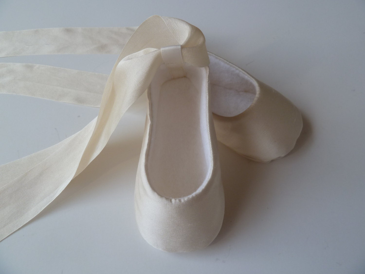 Baby Girl Shoes Ivory SILK Christening Shoes Infant Ballet