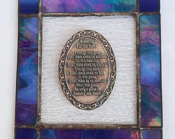 Judaica New Home Blessing Glass Handmade Made Israel handmade Stained Glass