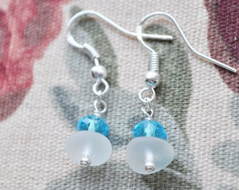 Genuine Sea Glass Delightful Beach Earrings White with Robin Blue Crystals 4557