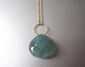 Moss Aquamarine Drop Solid 14k Gold Necklace