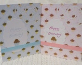 Handmade Pink and Blue Cupcake Birthday Cards Set of Eight