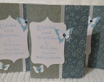 Handmade Friendship Note Cards Flowers and Butterflies Blue and White 6