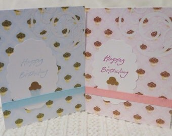 Handmade note cards, birthday card, pink and blue with chocolate brown cupcakes, 'happy birthday' cards, stationery set of eight