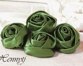 Set of 4 - MOSS / Olive GREEN  50mm Adorable Rolled Satin Rose Bud Rosettes Fabric flowers